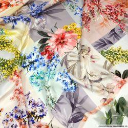 Satin de soie imprimé pleine de vie multicolore