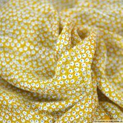 Satin dévoré lurex imprimé promenade moutarde
