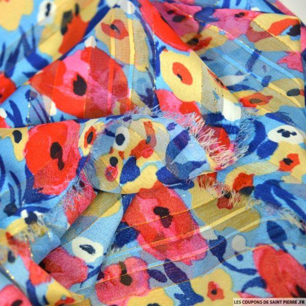 Satin dévoré lurex imprimé déjeuner sur l'herbe rouge et bleu