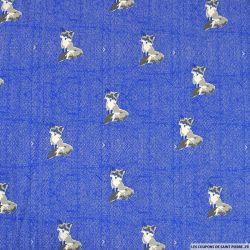 Jersey coton imprimé renard chevron bleu