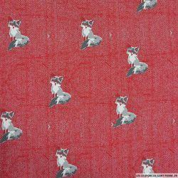 Jersey coton imprimé renard chevron rouge