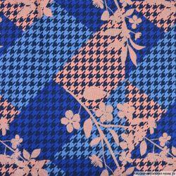 Jersey coton imprimé fleurs irisée et pied de coq bleu