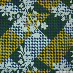 Jersey coton imprimé fleurs irisées et pied de coq jaune