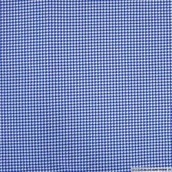 Jersey coton imprimé pied de poule bleu et blanc