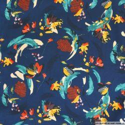 Satin polyester imprimé joie de vivre fond marine