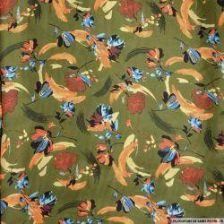 Satin polyester imprimé joie de vivre fond kaki
