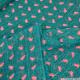 Mousseline crinkle lurex imprimée callistemon fond vert