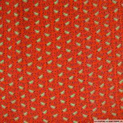 Mousseline crinkle lurex imprimée callistemon fond rouge