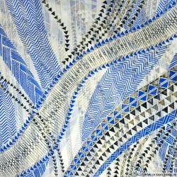 Mousseline bande satin lurex imprimé géométrique bleu