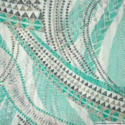 Mousseline bande satin lurex imprimé géométrique vert
