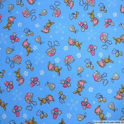 Jersey polycoton mprimé lapin bleu
