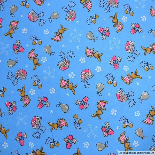 Jersey coton imprimé lapin bleu