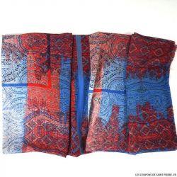 Mousseline imprimée richesse d'esprit rouge et bleu