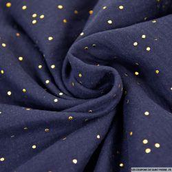 Double gaze bleu nuit pois dorés