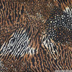 Mousseline imprimée pattern animalier fond noir