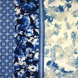 Microfibre imprimée océan bleu