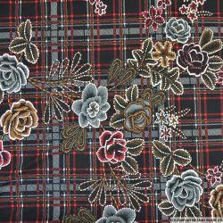 Jersey floqué imprimé fleurs et carreaux rouge et noir