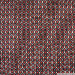 Jersey lurex imprimé rubis rouge fond noir