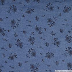 Jean's coton fin imprimé taouages fleurs fond bleu