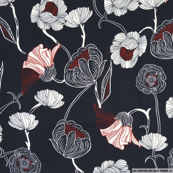 Satin de coton imprimé fleurs en dessin marine