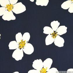 Satin de coton imprimé coup de fleurs noir