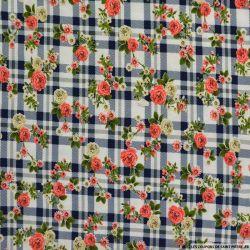 Maille maillot de bain imprimée carreaux marine et fleurs roses