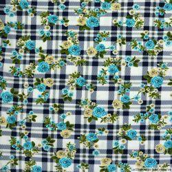 Maille maillot de bain imprimée carreaux marine et fleurs turquoise