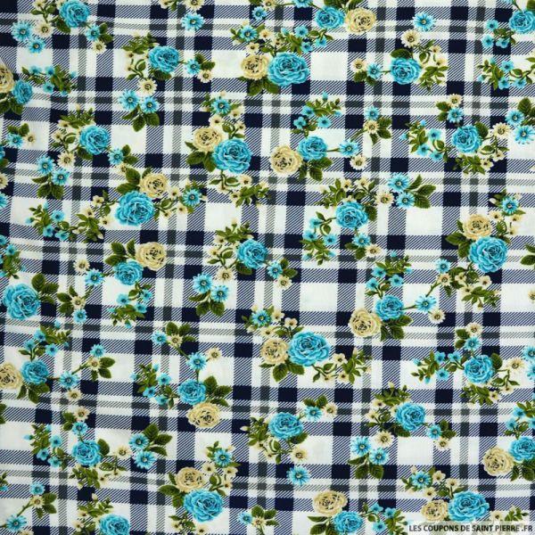 Maille maillot de bain imprimée carreaux marine et fleurs