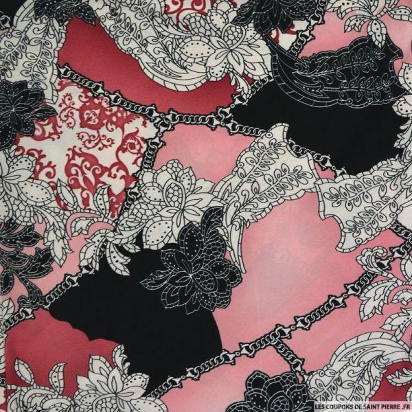 Maille maillot de bain imprimée chaine fond rose