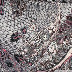 Maille maillot de bain imprimée cachemire et fantaisie rose et gris