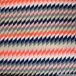 Maille maillot de bain imprimée losange orange et marine