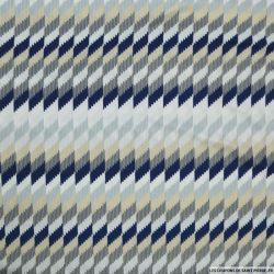 Maille maillot de bain imprimée losange bleu et beige