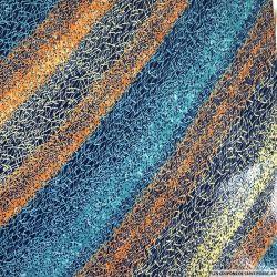 Maille maillot de bain enduit imprimée spirographie orange et bleu