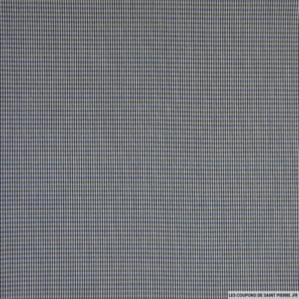 Coton tissé teint petit rectangle noir et bleu
