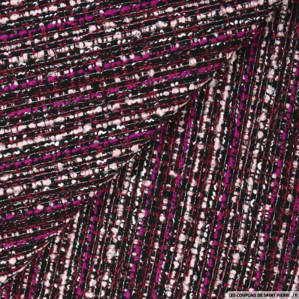 Tweed polycoton fuchsia et noir