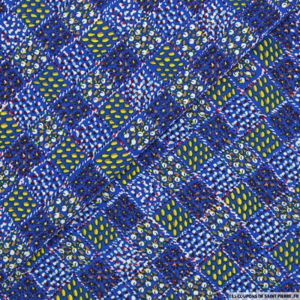 Mousseline imprimée récolte en carré fond bleu