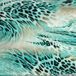 Satin polyester imprimé en apnée turquoise
