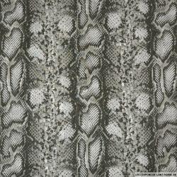 Mousseline imprimée komodo kaki et blanc