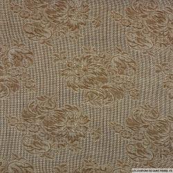 Etamine jacquard de laine marron et blanc