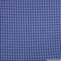 Jersey polyviscose imprimé bleu fond blanc