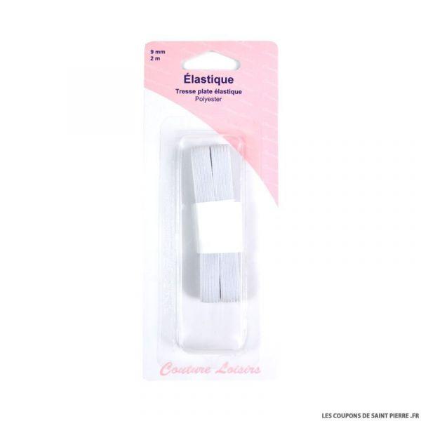 Elastique tresse plate élastique 9 mm blanc
