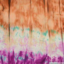 Voile de Coton tie and dye marron et violet