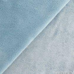 Tissu éponge bambou bleu acier vendu au mètre