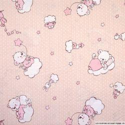 Popeline de coton imprimée ourson sur un nuage fond rose