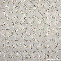 Popeline de coton imprimée petit canard fond gris beige
