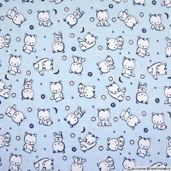 Popeline de coton imprimée bébé ourson fond ciel