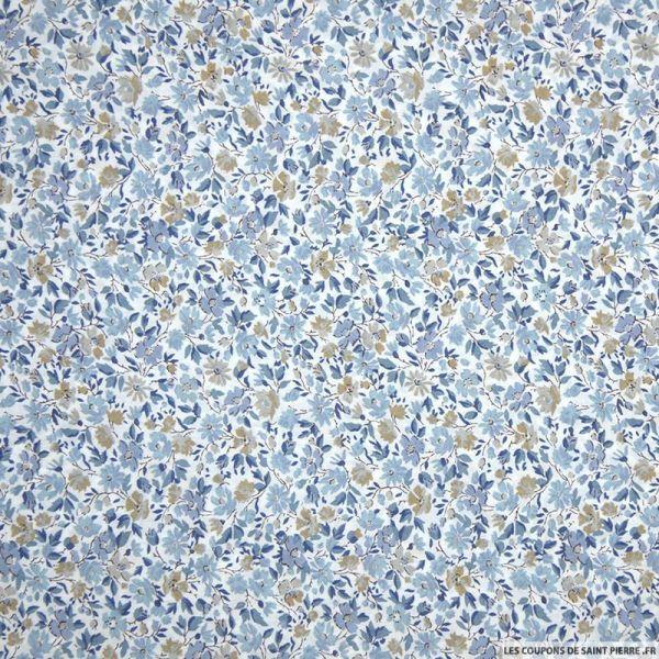 Coton liberty ® Hannah Rose bleu givré au mètre