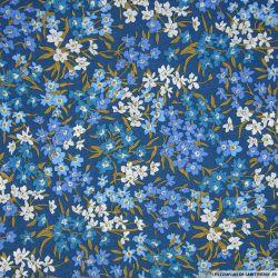Coton liberty ® Sea Blossoms bleu au mètre
