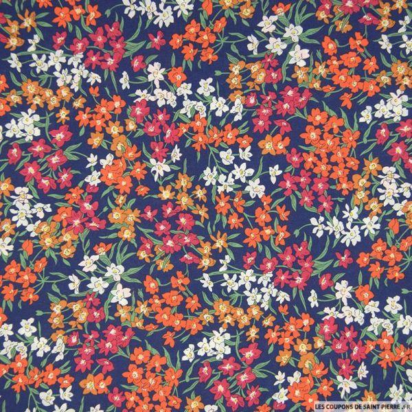 Coton liberty ® Sea Blossoms orange au mètre