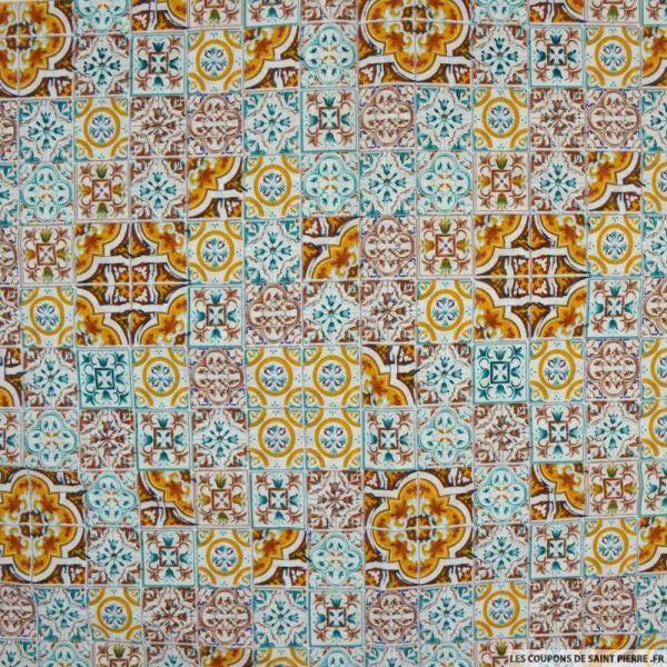 Coton imprimé Lisbonne turquoise et ocre